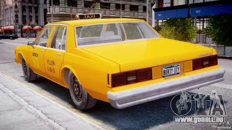 Chevrolet Impala Taxi 1983 pour GTA 4 vue de dessus