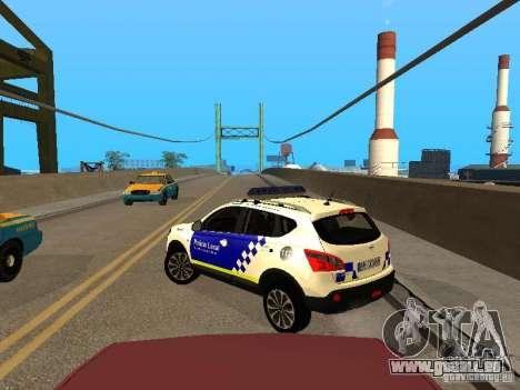 Nissan Qashqai Espaqna Police pour GTA San Andreas sur la vue arrière gauche