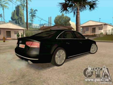 Audi A8 2010 pour GTA San Andreas vue arrière