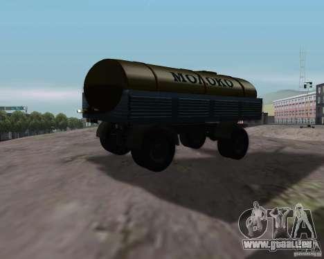 Remorque pour tanker lait Kamaz 53212 pour GTA San Andreas laissé vue