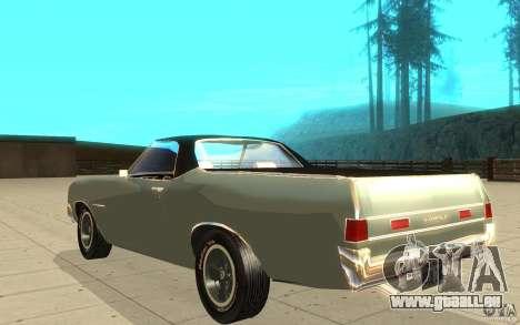 Chevrolet El Camino 1972 pour GTA San Andreas sur la vue arrière gauche