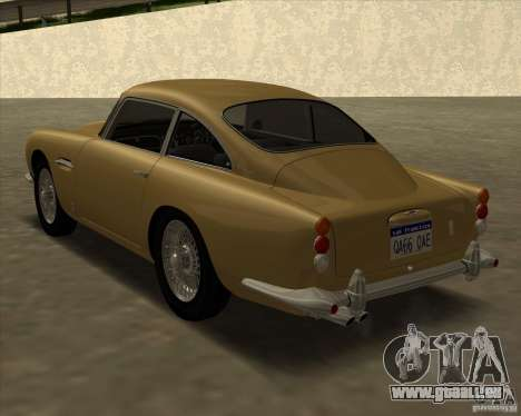 Aston Martin DB5 Vantage 1965 pour GTA San Andreas laissé vue