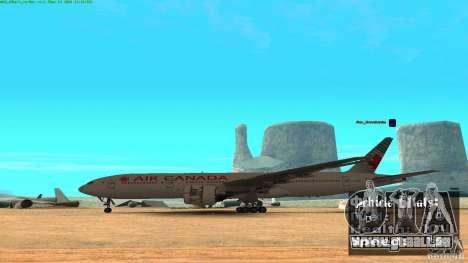 Boeing 777-200 Air Canada pour GTA San Andreas laissé vue