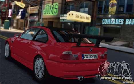 BMW M3 Street Version e46 pour GTA 4 Vue arrière de la gauche