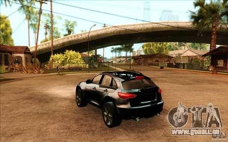 Infiniti FX50 Beta pour GTA San Andreas sur la vue arrière gauche