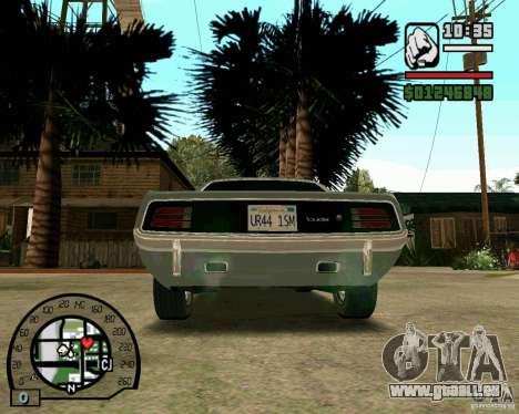 Plymouth Hemi Cuda 440 pour GTA San Andreas sur la vue arrière gauche