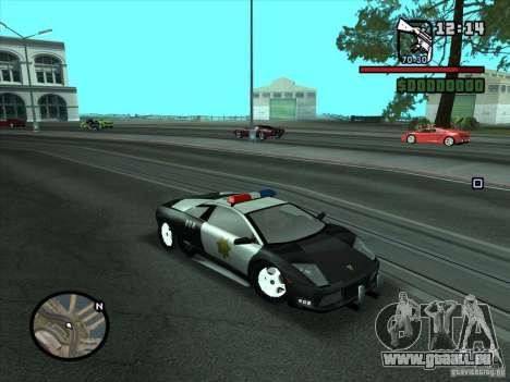 Lamborghini Murcielago Police für GTA San Andreas rechten Ansicht