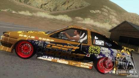 Toyota Corolla AE86 DS pour GTA San Andreas sur la vue arrière gauche