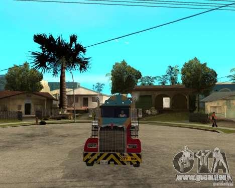 Kenworth W900 CEMENT TRUCK für GTA San Andreas Rückansicht