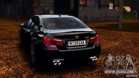 BMW M5 F10 2012 pour GTA 4 Vue arrière de la gauche