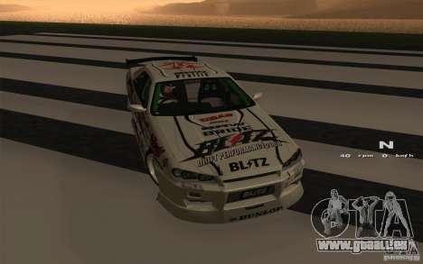Nissan Skyline ER34 D1GP Blitz pour GTA San Andreas laissé vue