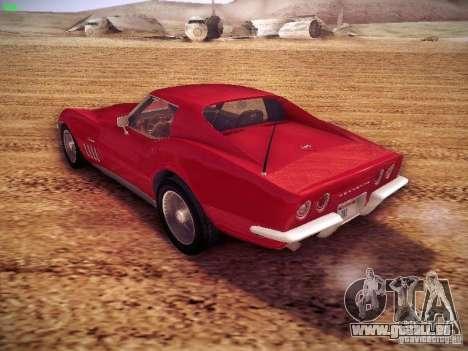 Chevrolet Corvette Stingray 1968 pour GTA San Andreas sur la vue arrière gauche