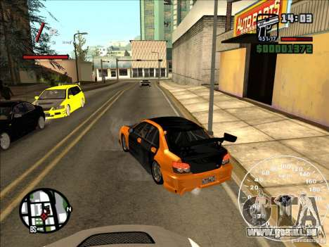 Subaru Impreza WRX Sti 2006 Elemental Attack für GTA San Andreas zurück linke Ansicht