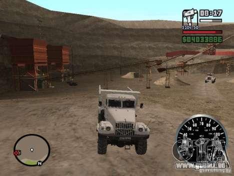 Camion à benne basculante KRAZ 225 pour GTA San Andreas vue de dessus