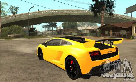 Lamborghini Gallardo LP570 Super Trofeo Stradale für GTA San Andreas zurück linke Ansicht