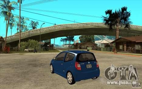 Citroen C2 - Stock pour GTA San Andreas sur la vue arrière gauche