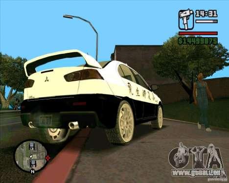 Mitsubishi Lancer EVO X Japan Police für GTA San Andreas Rückansicht