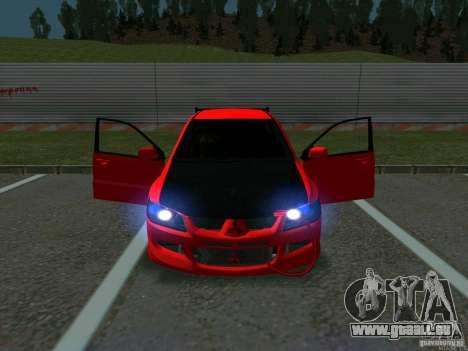 Mitsubishi Lancer Drift pour GTA San Andreas vue intérieure
