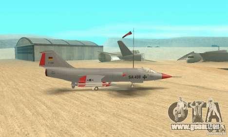 F-104 Starfighter Super (gris) pour GTA San Andreas sur la vue arrière gauche