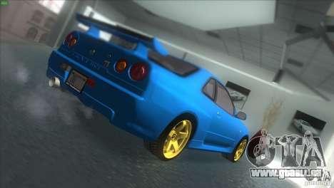 Nissan Skyline GTR-34 pour GTA San Andreas sur la vue arrière gauche