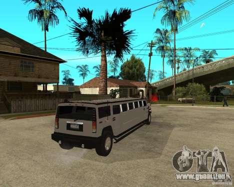 AMG H2 HUMMER 4x4 Limusine pour GTA San Andreas sur la vue arrière gauche