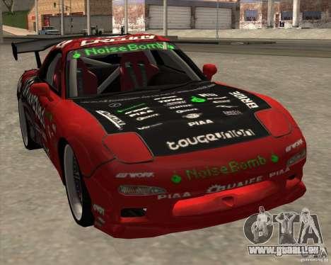 Mazda RX-7 drift king pour GTA San Andreas sur la vue arrière gauche