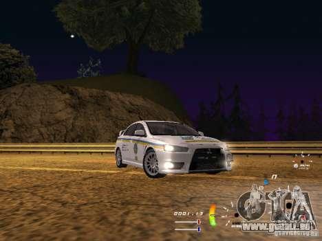 Mitsubishi Lancer Evolution X DPS pour GTA San Andreas sur la vue arrière gauche