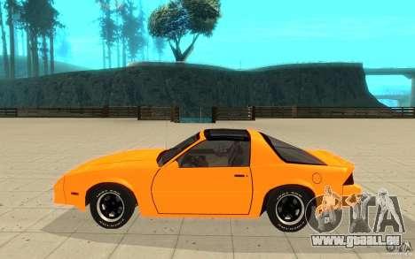 Chevrolet Camaro 1986 Targa Top pour GTA San Andreas laissé vue