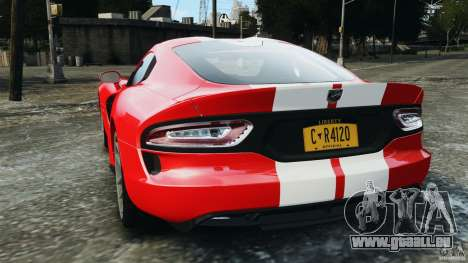 SRT Viper GTS 2013 pour GTA 4 Vue arrière de la gauche