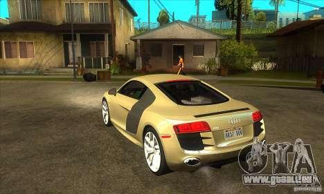 Audi R8 V10 5.2 FSI Quattro für GTA San Andreas zurück linke Ansicht