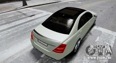 Mercedes-Benz S65 AMG LONG 2010 pour GTA 4 Vue arrière de la gauche