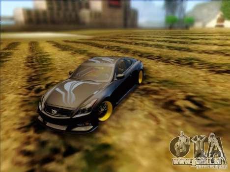 Infiniti G37 HellaFlush pour GTA San Andreas sur la vue arrière gauche
