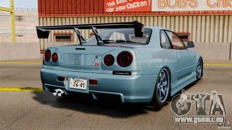 Nissan Skyline GT-R (BNR34) 2002 pour GTA 4 Vue arrière de la gauche