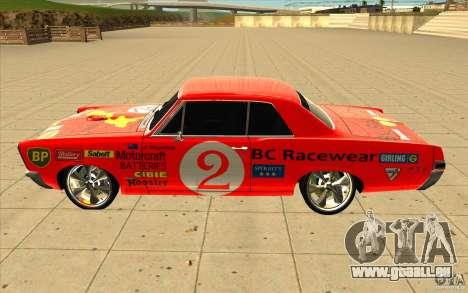 Pontiac GTO 1965 NFS Pro Street nouveaux vinyls pour GTA San Andreas vue arrière