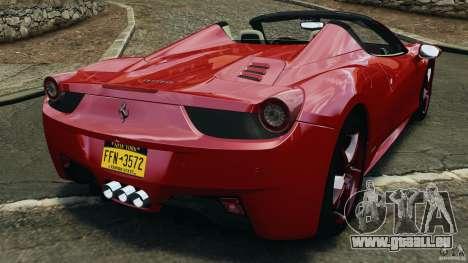 Ferrari 458 Spider 2013 v1.01 pour GTA 4 Vue arrière de la gauche