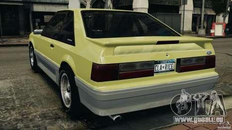 Ford Mustang GT 1993 v1.1 pour GTA 4 Vue arrière de la gauche