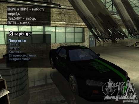 Nissan Skyline GT-R34 V-Spec für GTA San Andreas Rückansicht