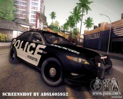 Ford Taurus Police Interceptor 2011 pour GTA San Andreas laissé vue