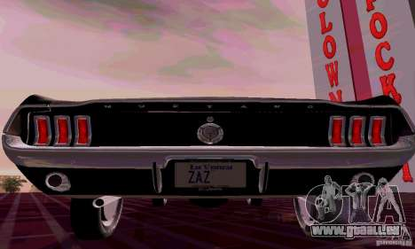 Ford Mustang 1967 für GTA San Andreas zurück linke Ansicht