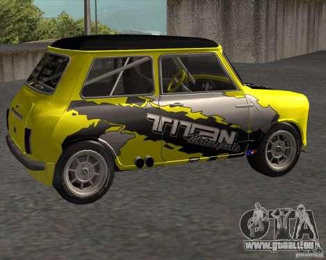 Mini Cooper S Titan Motorsports pour GTA San Andreas laissé vue