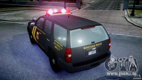 Chevrolet Tahoe Indonesia Police pour GTA 4 Vue arrière