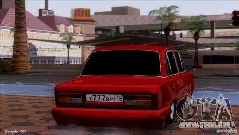 Tuning de voiture VAZ 2107 pour GTA San Andreas sur la vue arrière gauche