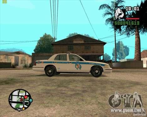 Ford Crown Victoria Baltmore County Police pour GTA San Andreas sur la vue arrière gauche