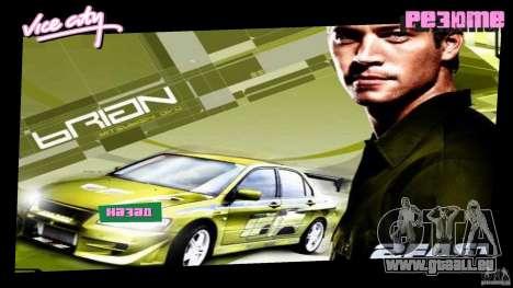 2 Fast 2 Furious Menu Brian GTA Vice City pour la deuxième capture d'écran