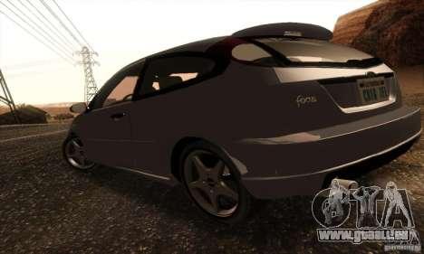 Ford Focus SVT TUNEABLE pour GTA San Andreas sur la vue arrière gauche