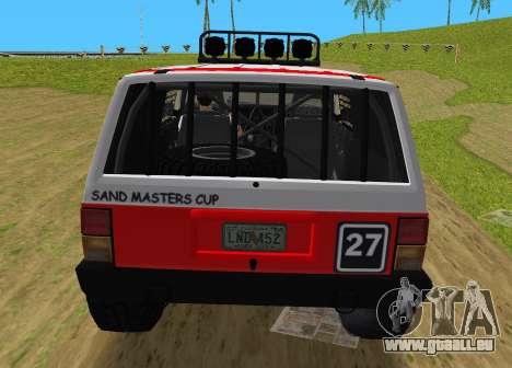 Jeep Cherokee 1984 Sandking pour une vue GTA Vice City de la droite