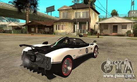 Pagani Zonda Cinque Roadster für GTA San Andreas rechten Ansicht