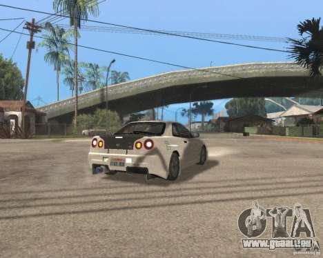 Nissan Skyline R-34 TUNED für GTA San Andreas zurück linke Ansicht