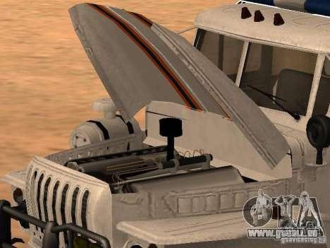 Ural 4320 MOE pour GTA San Andreas sur la vue arrière gauche