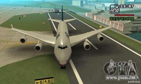 Avion de GTA 4 Boeing 747 pour GTA San Andreas sur la vue arrière gauche